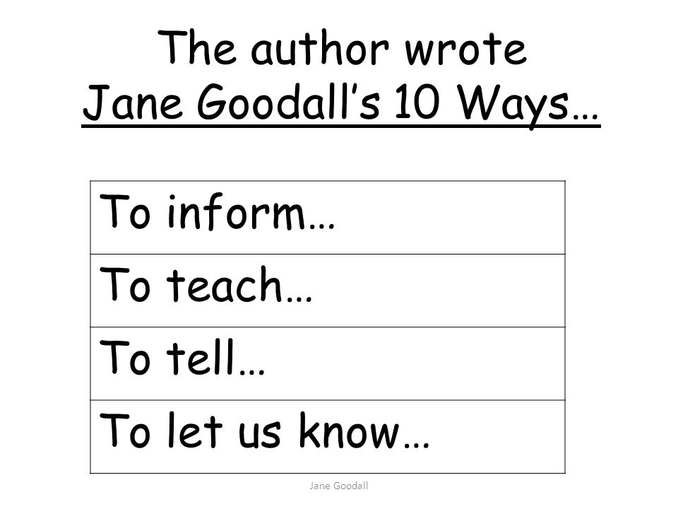 The author wrote Jane Goodall's 10 Ways… To inform… To teach… To tell…