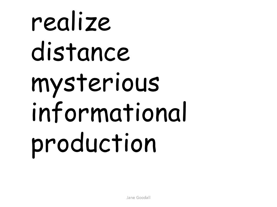 realize distance mysterious informational production Jane Goodall