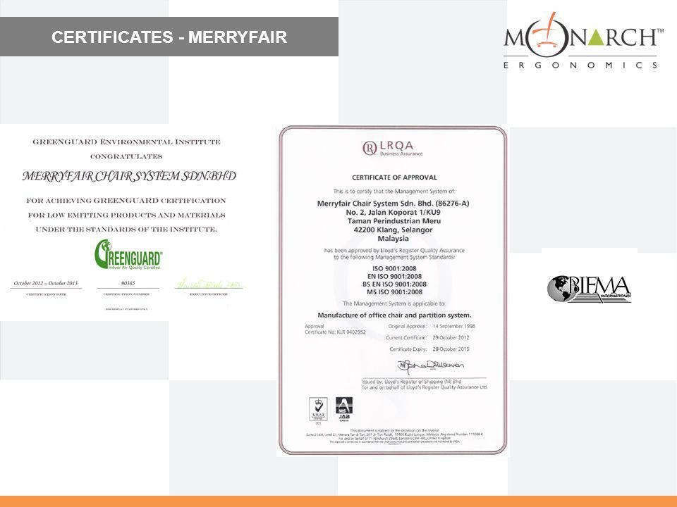 CERTIFICATES - MERRYFAIR