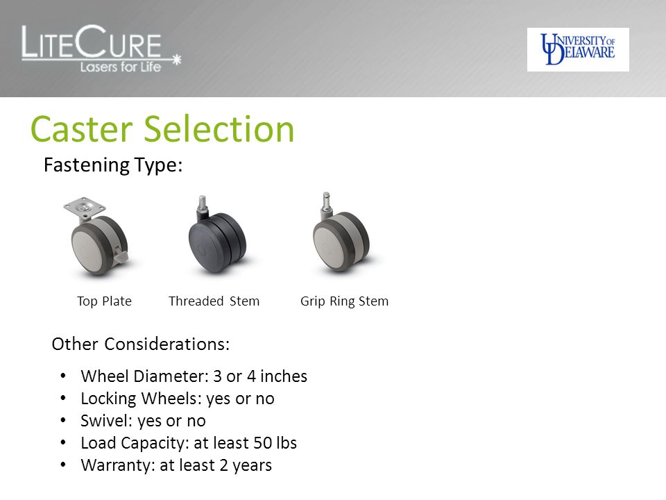 Caster Selection Fastening Type: Other Considerations: