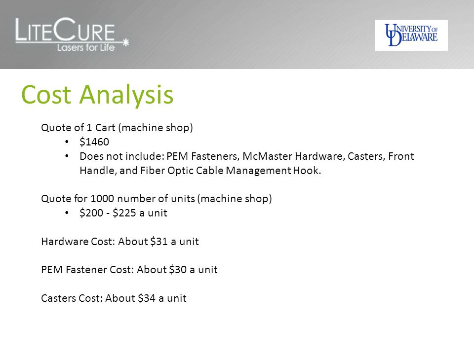 Cost Analysis Quote of 1 Cart (machine shop) $1460