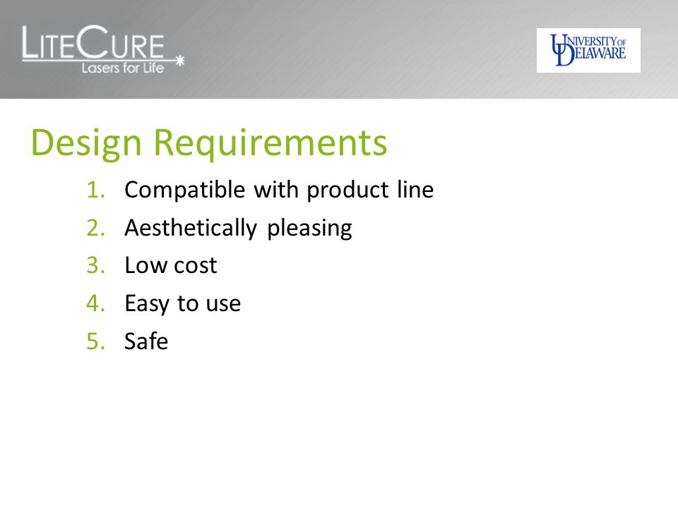 Design Requirements Compatible with product line