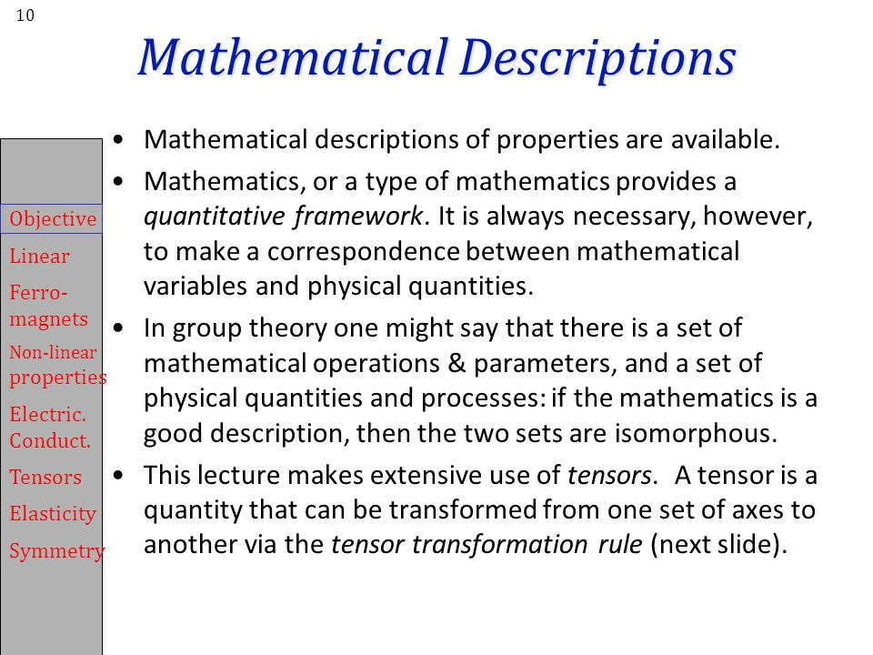 Mathematical Descriptions