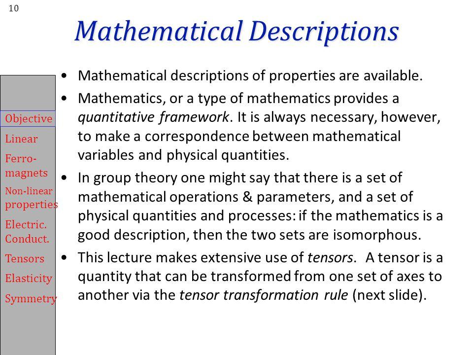 Mathematical Descriptions
