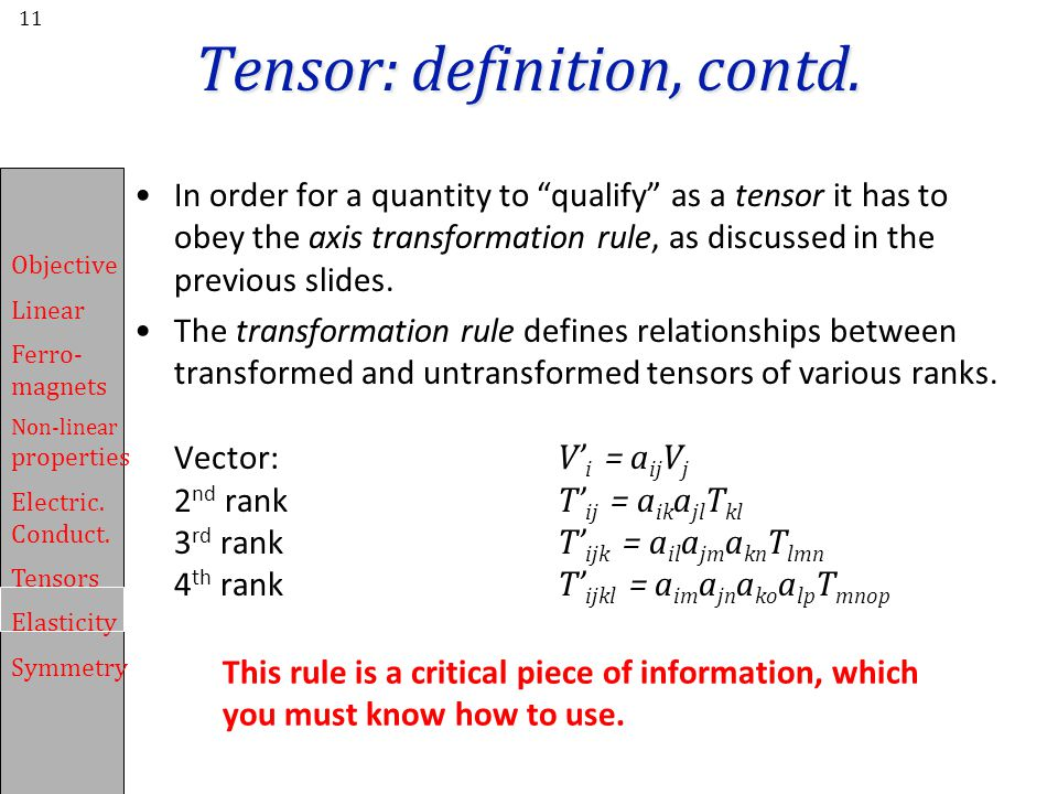 Tensor: definition, contd.
