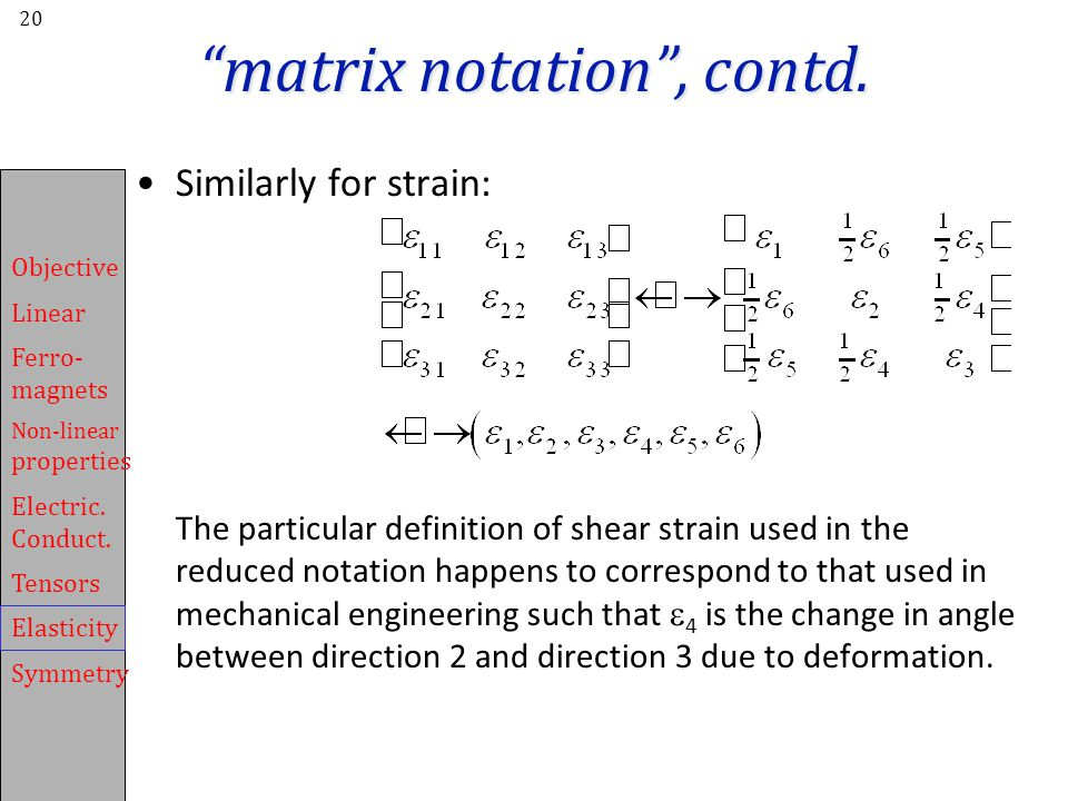 matrix notation , contd.