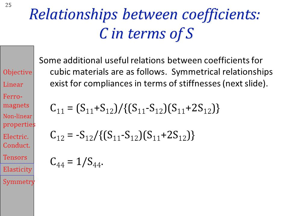 Relationships between coefficients: C in terms of S