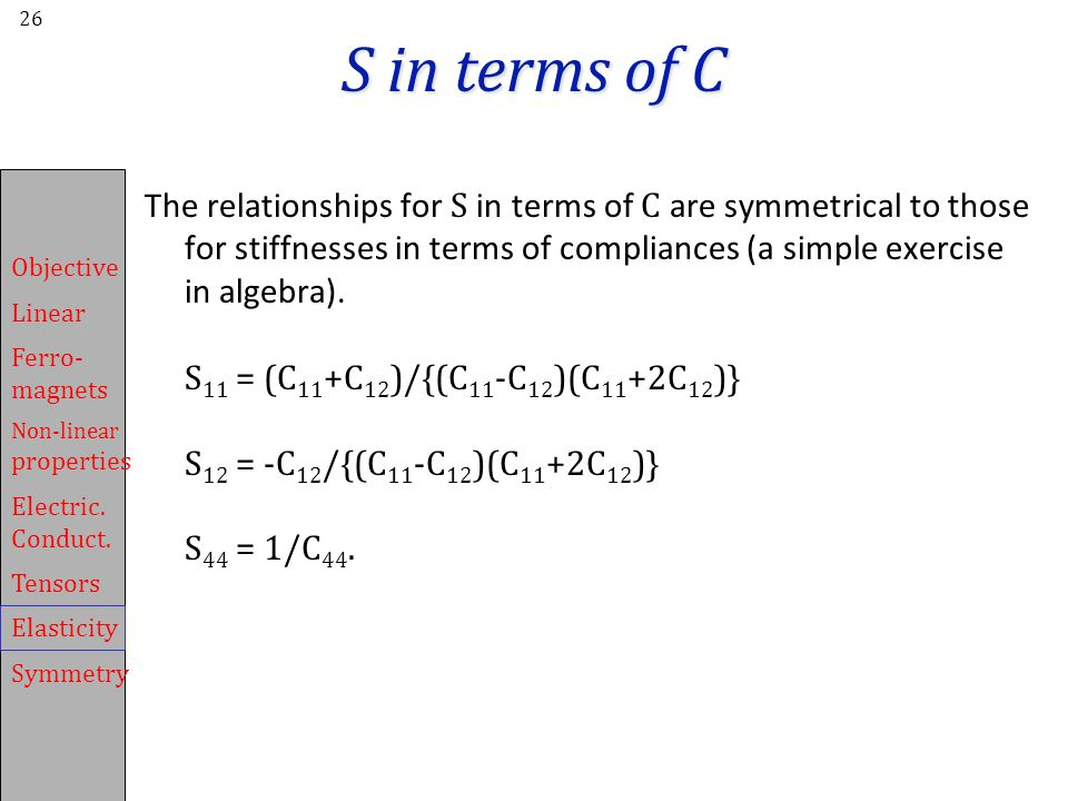 S in terms of C