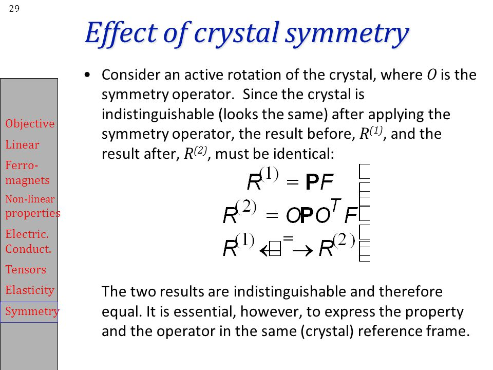 Effect of crystal symmetry
