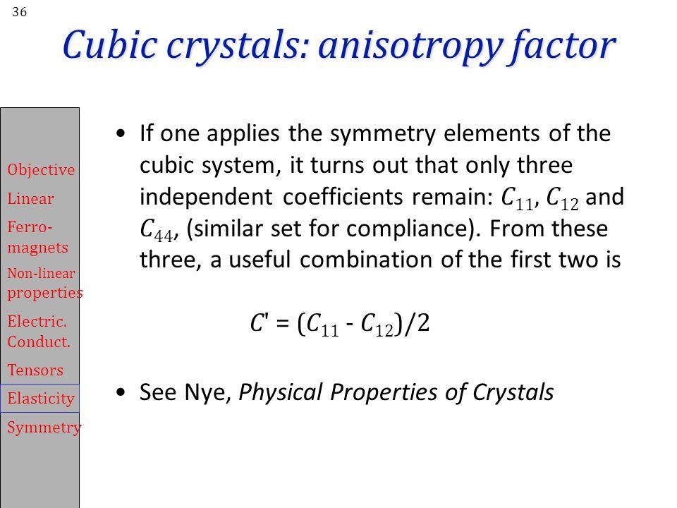 Cubic crystals: anisotropy factor