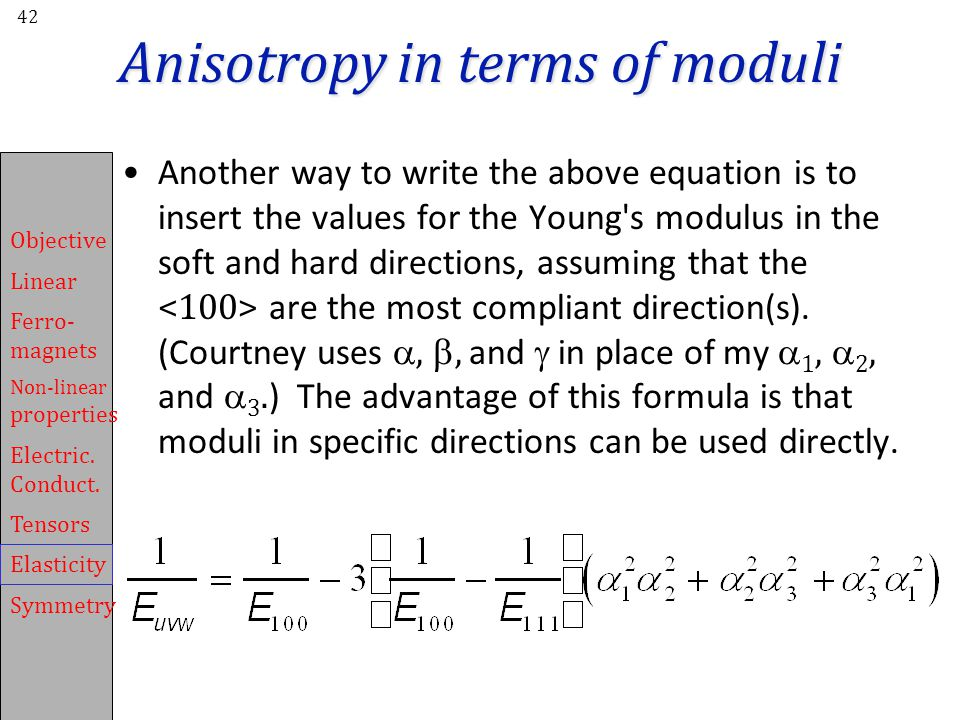 Anisotropy in terms of moduli