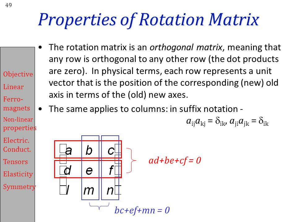 Properties of Rotation Matrix
