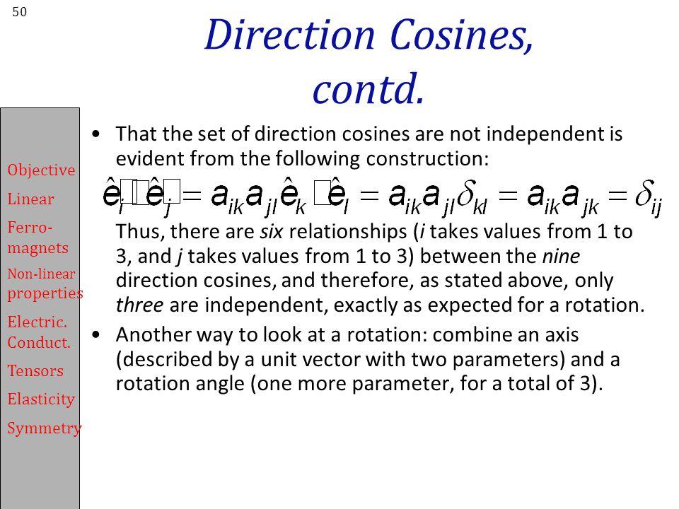 Direction Cosines, contd.