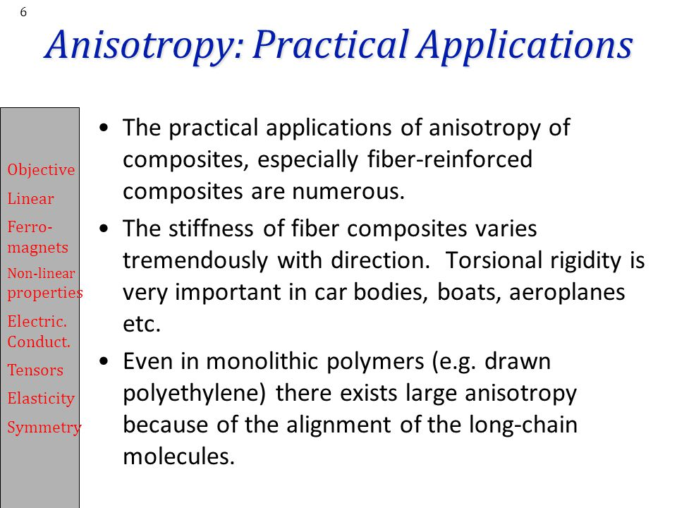 Anisotropy: Practical Applications
