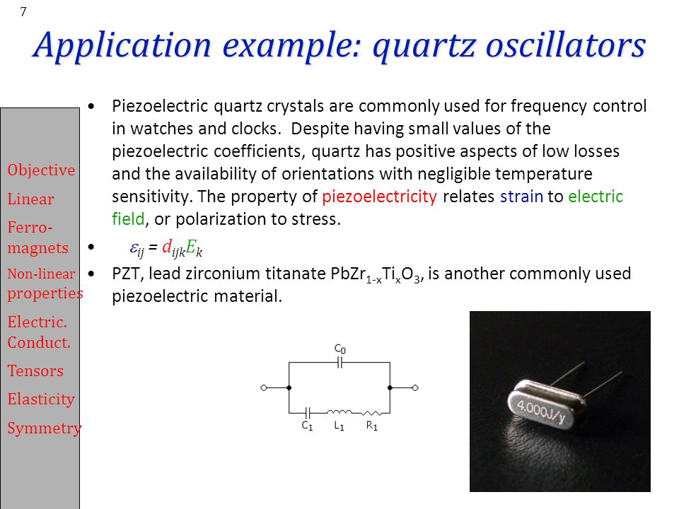 Application example: quartz oscillators