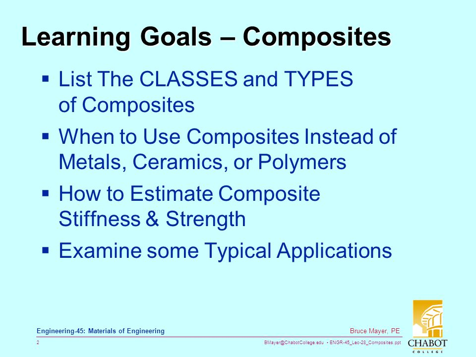 Learning Goals – Composites