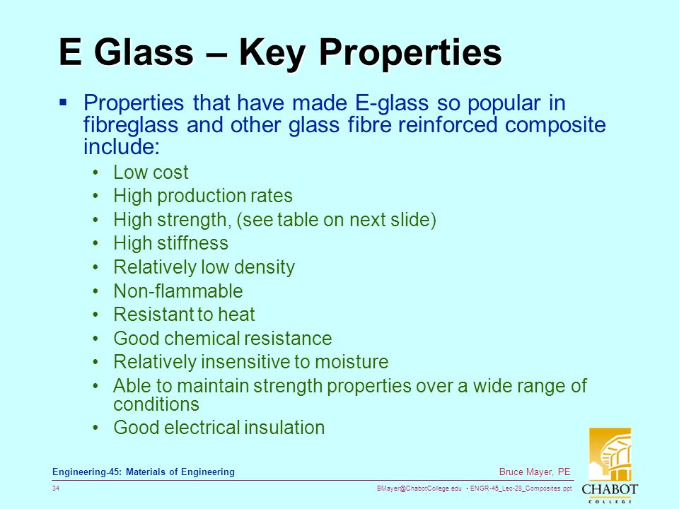 E Glass – Key Properties