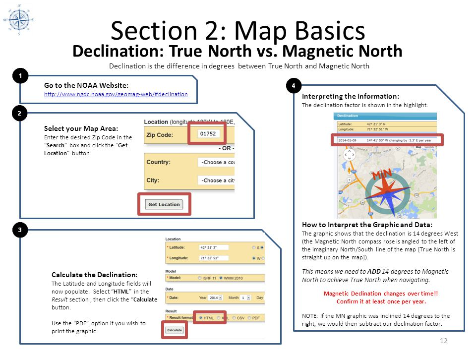 Section 2: Map Basics Declination: True North vs. Magnetic North