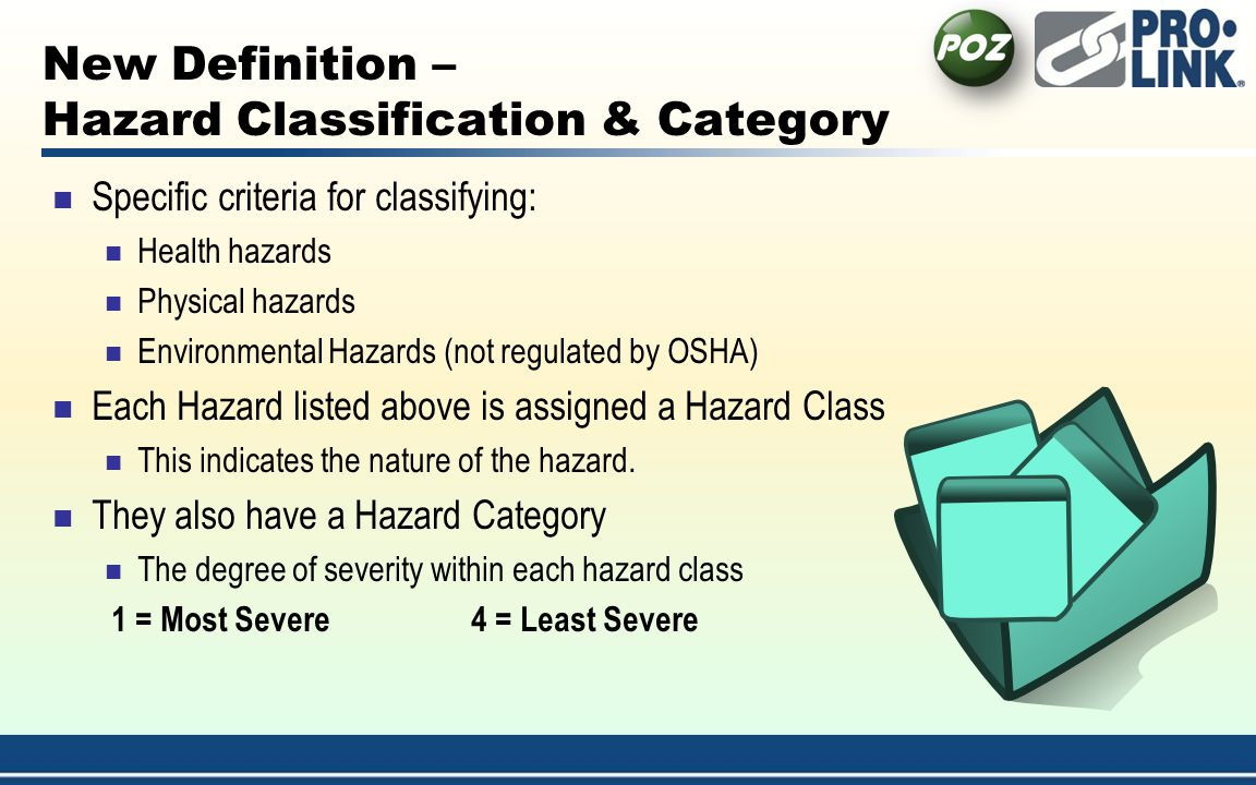 New Definition – Hazard Classification & Category