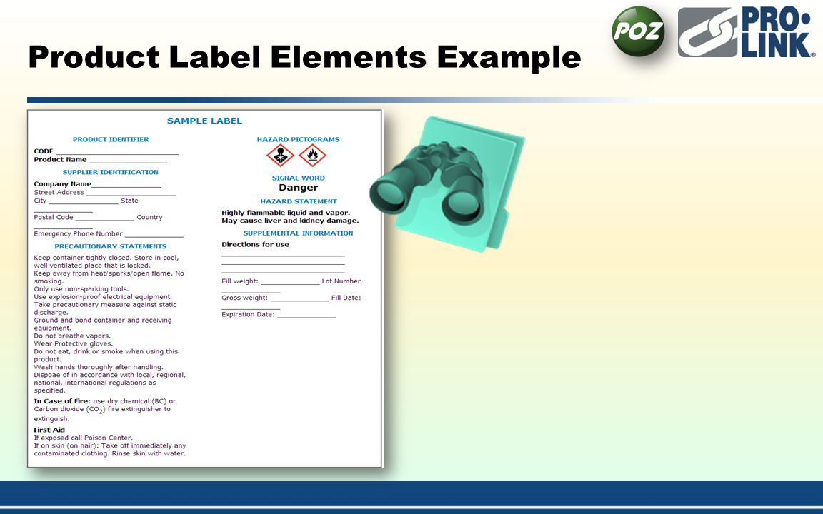 Product Label Elements Example