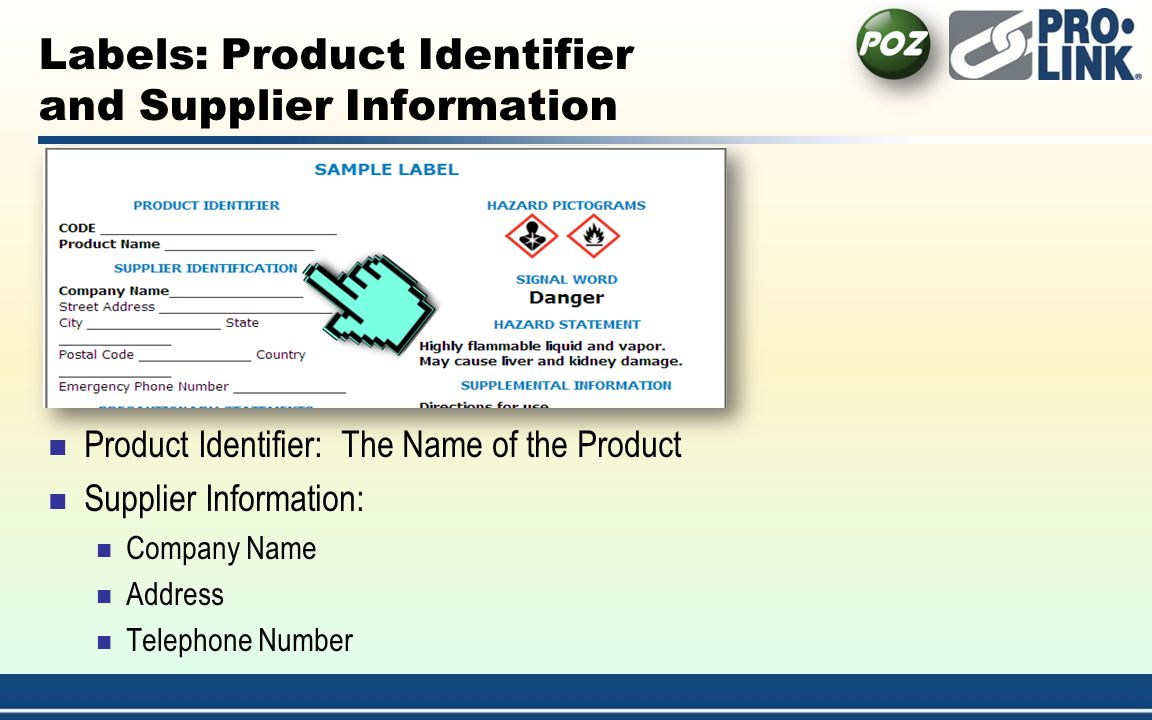 Labels: Product Identifier and Supplier Information
