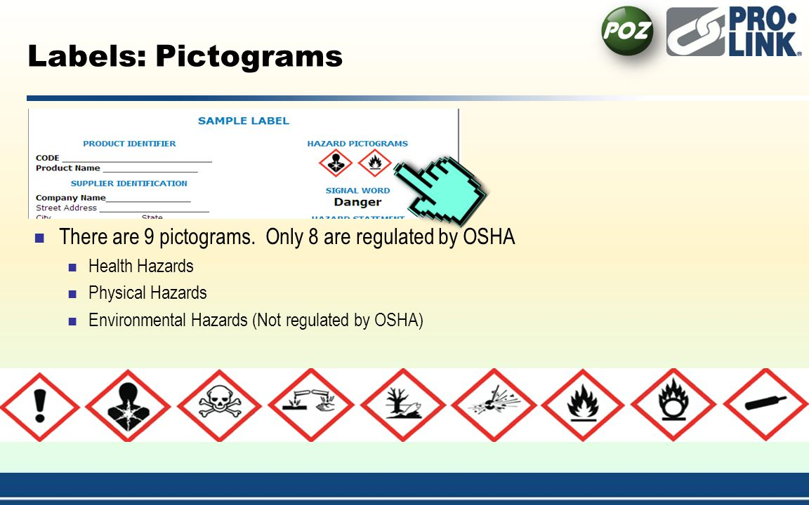 4/1/2017 1:54:21 AM Labels: Pictograms. There are 9 pictograms. Only 8 are regulated by OSHA. Health Hazards.