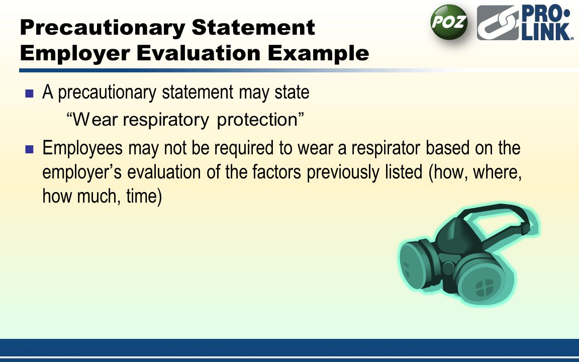 Precautionary Statement Employer Evaluation Example