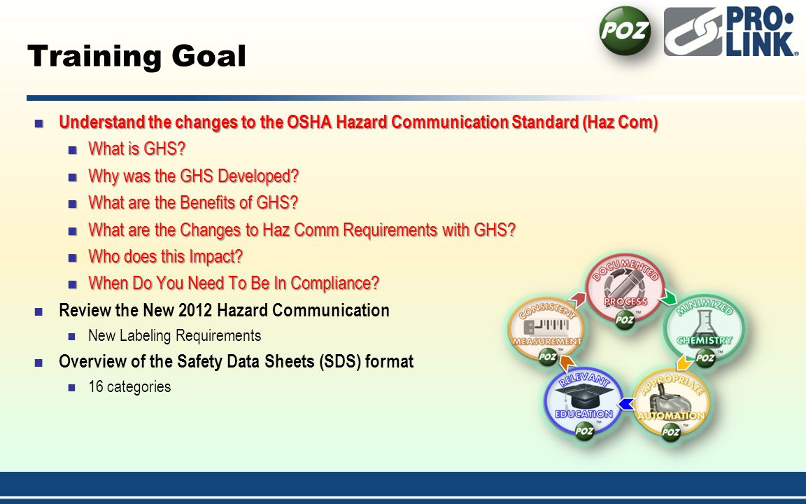 4/1/2017 1:54:21 AM Training Goal. Understand the changes to the OSHA Hazard Communication Standard (Haz Com)