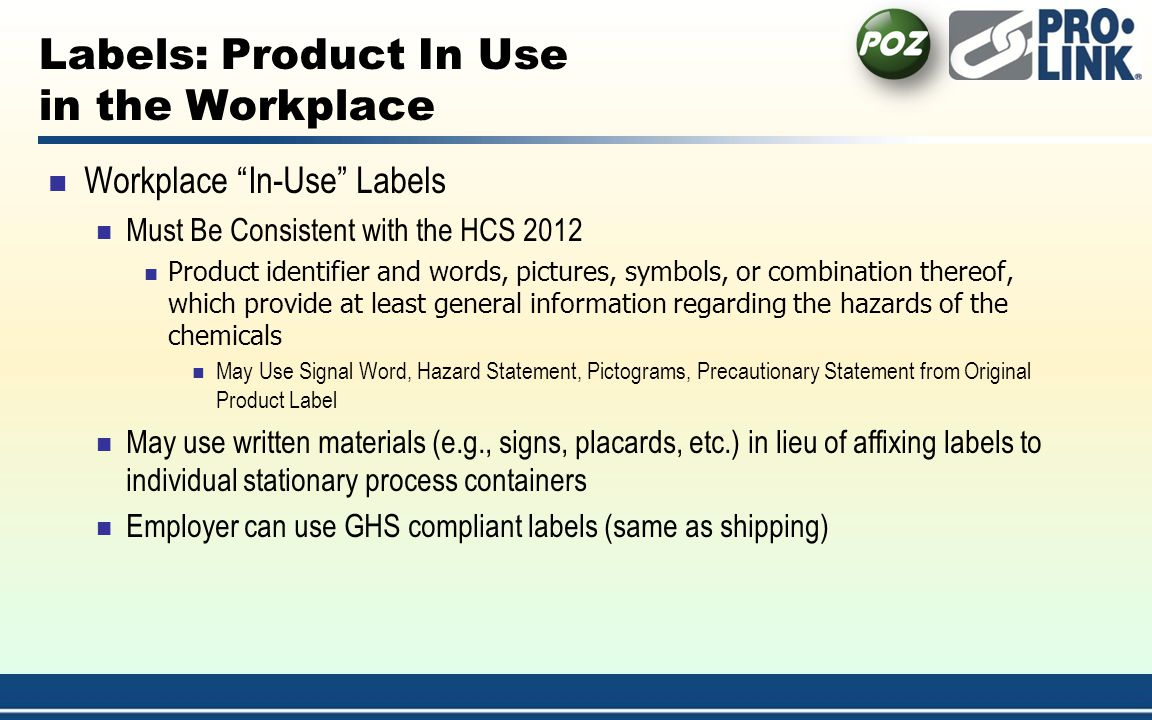 Labels: Product In Use in the Workplace