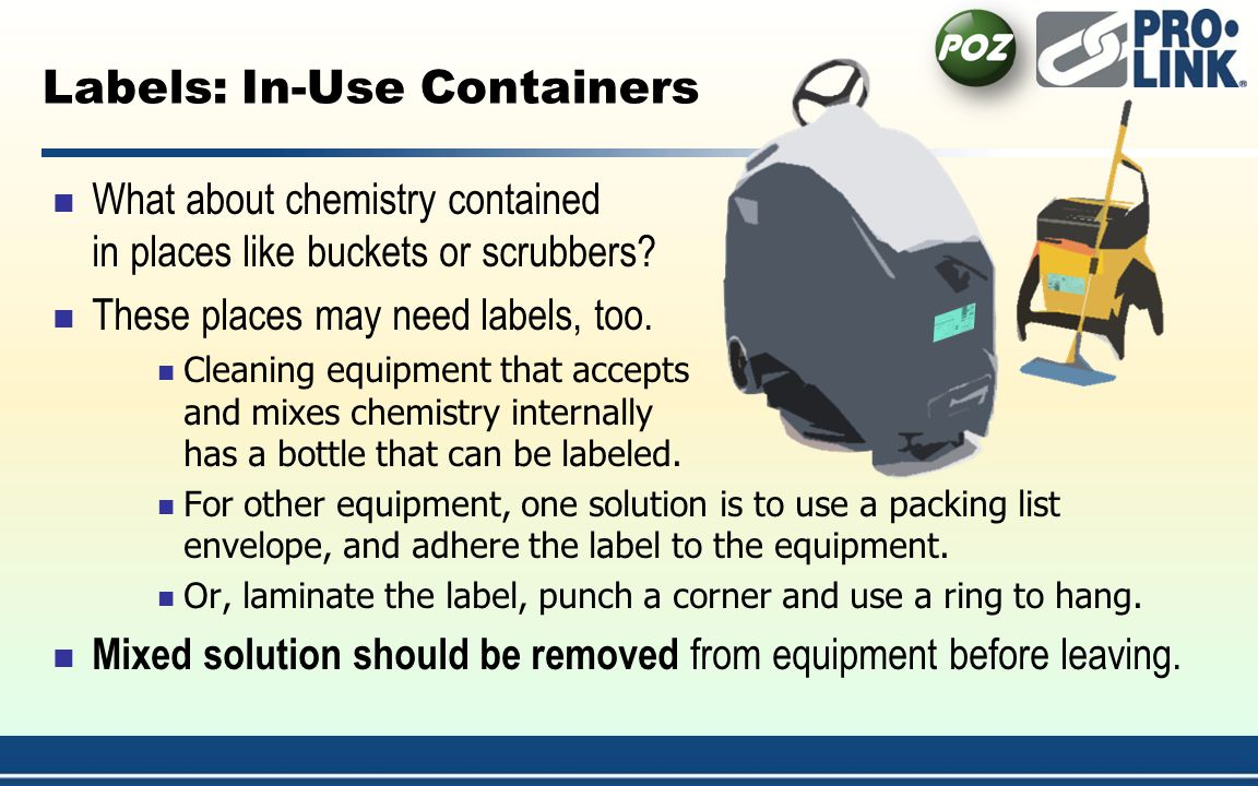 Labels: In-Use Containers