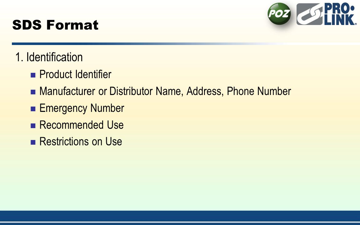 SDS Format 1. Identification Product Identifier