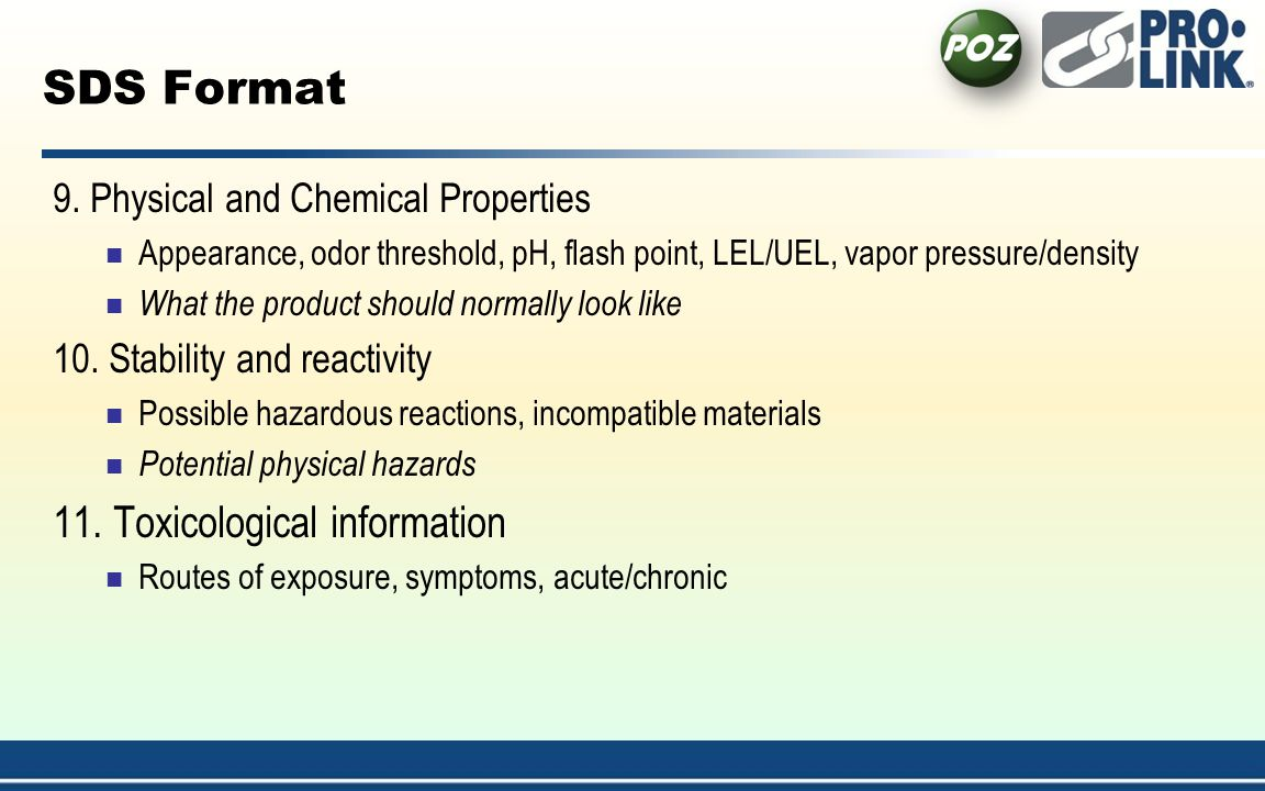 SDS Format 11. Toxicological information