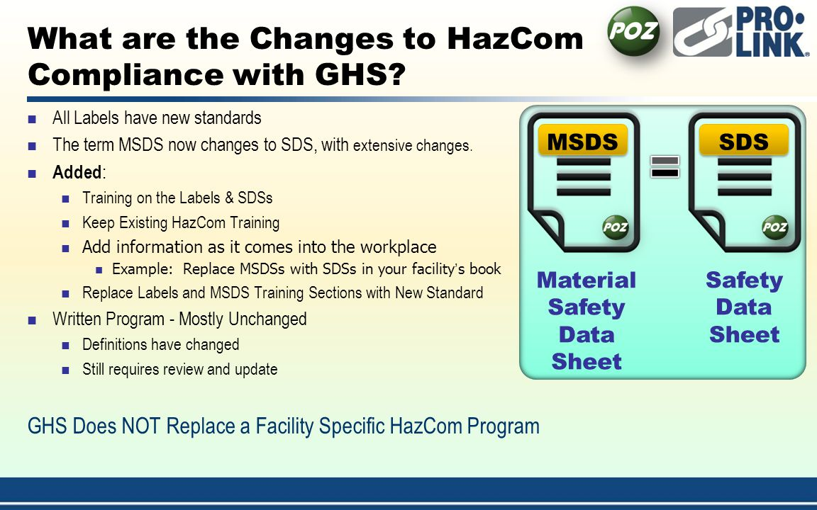 What are the Changes to HazCom Compliance with GHS