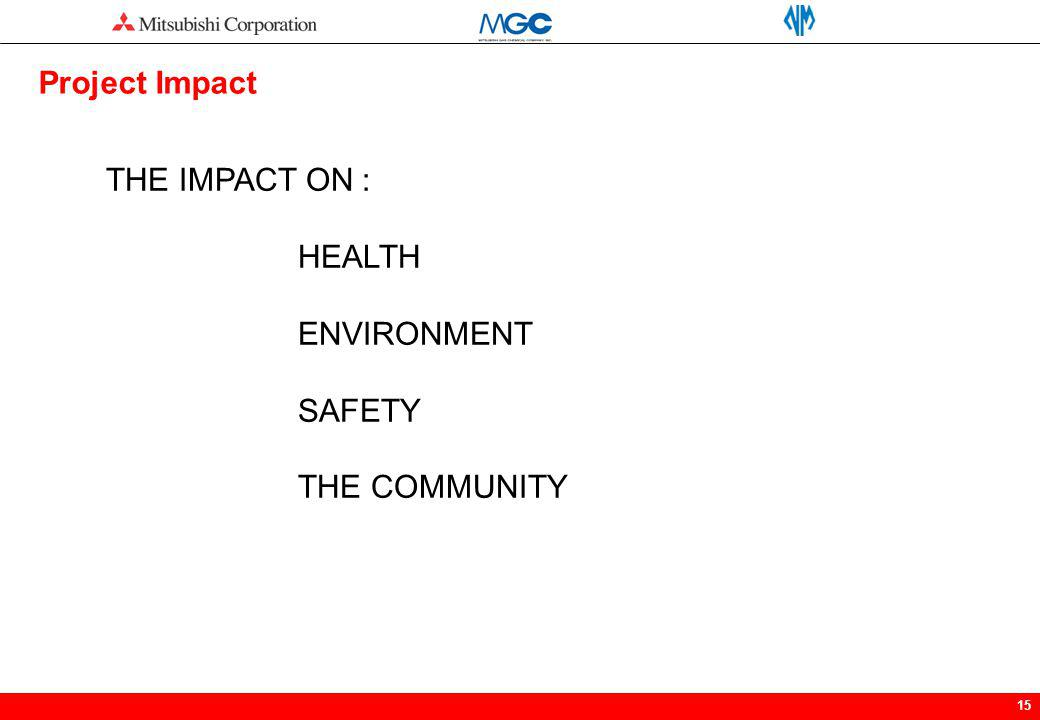 Project Impact THE IMPACT ON : HEALTH ENVIRONMENT SAFETY THE COMMUNITY
