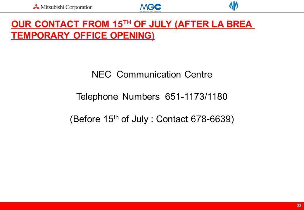 OUR CONTACT FROM 15TH OF JULY (AFTER LA BREA TEMPORARY OFFICE OPENING)