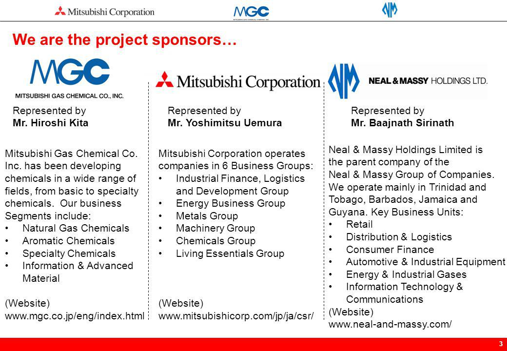 We are the project sponsors…