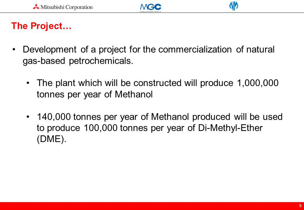 The Project… Development of a project for the commercialization of natural gas-based petrochemicals.