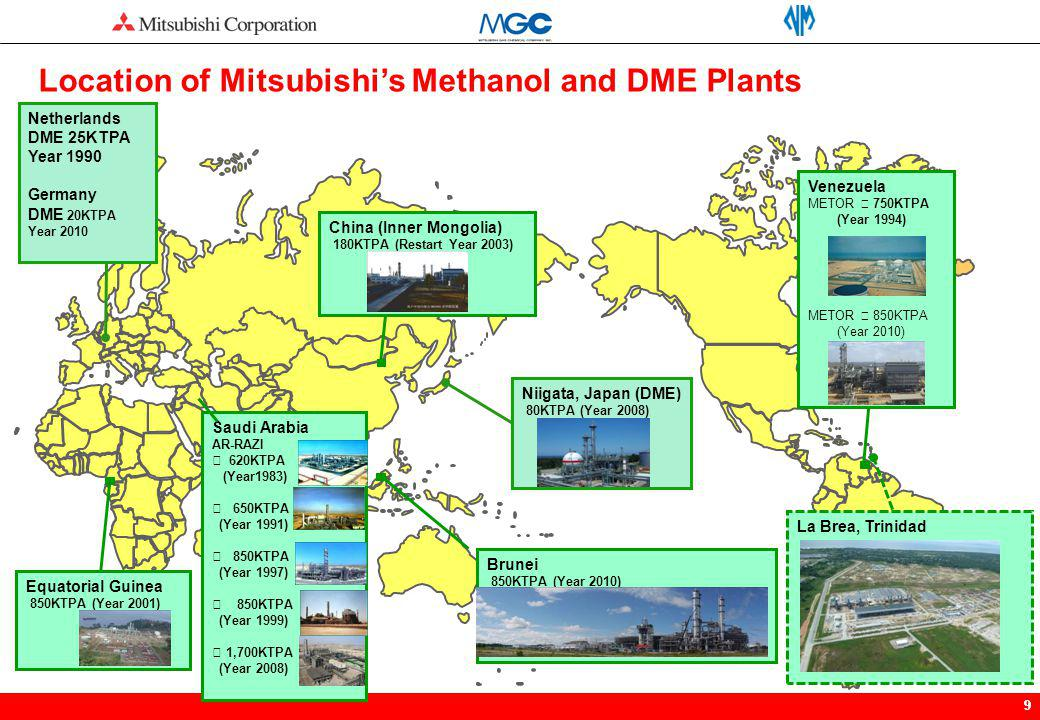 Location of Mitsubishi's Methanol and DME Plants