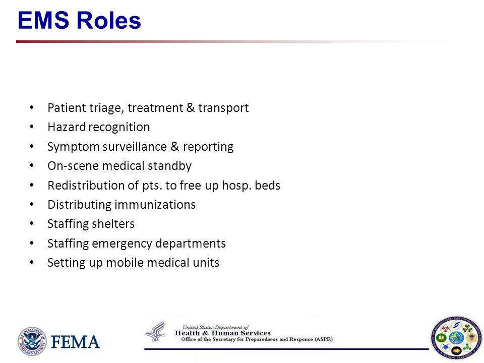 EMS Roles Patient triage, treatment & transport Hazard recognition