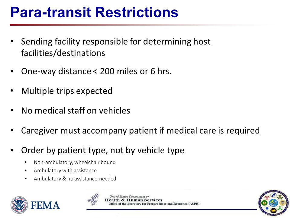 Para-transit Restrictions