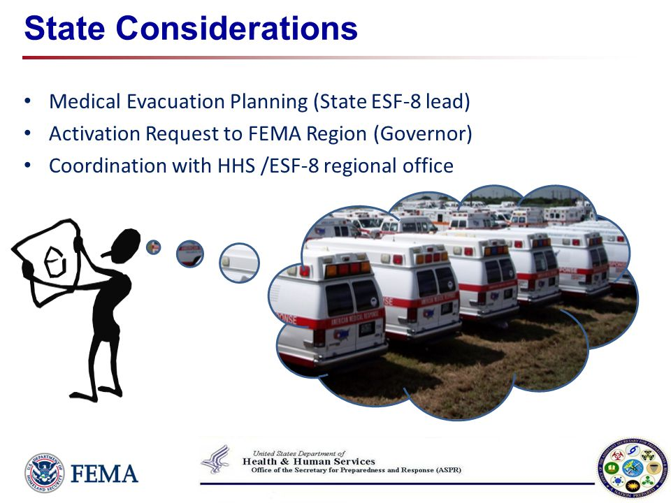 State Considerations Medical Evacuation Planning (State ESF-8 lead)