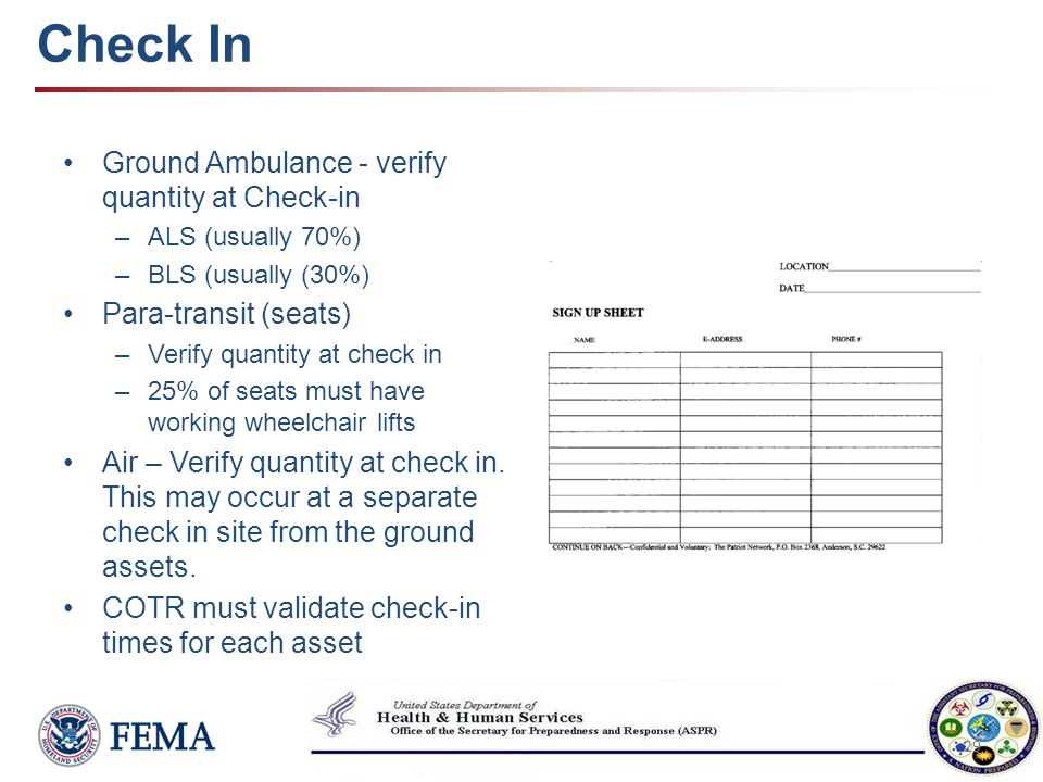 Check In Ground Ambulance - verify quantity at Check-in