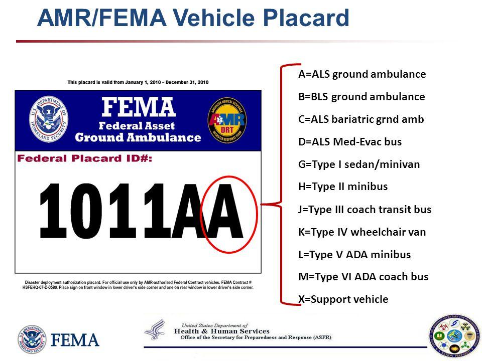AMR/FEMA Vehicle Placard