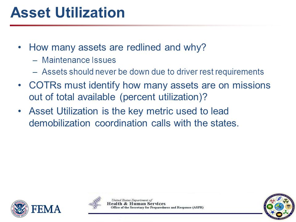 Asset Utilization How many assets are redlined and why