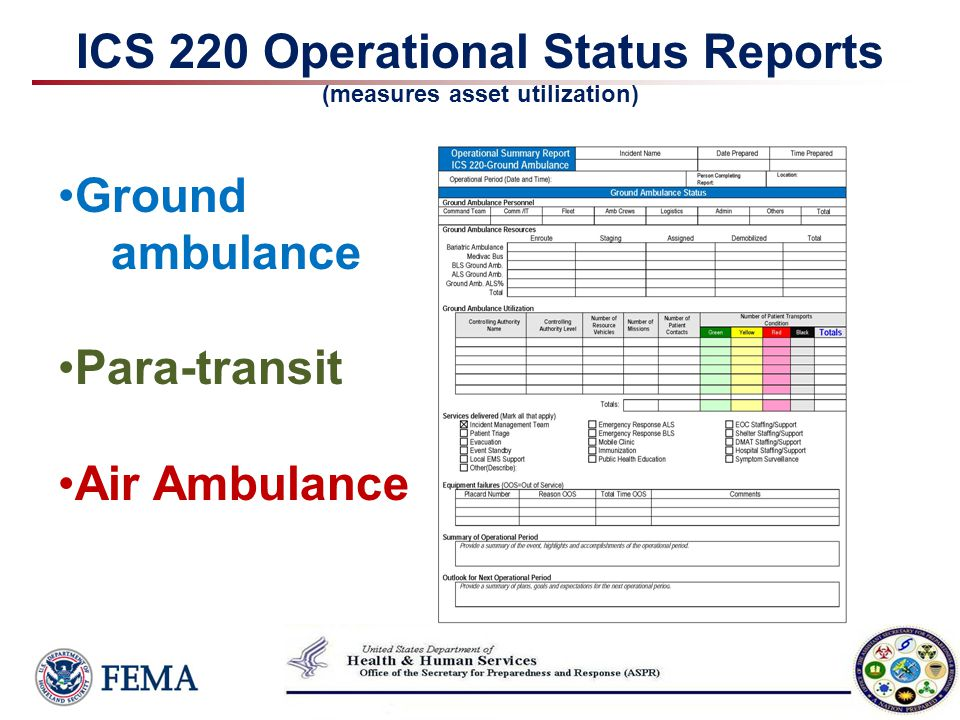 ICS 220 Operational Status Reports (measures asset utilization)