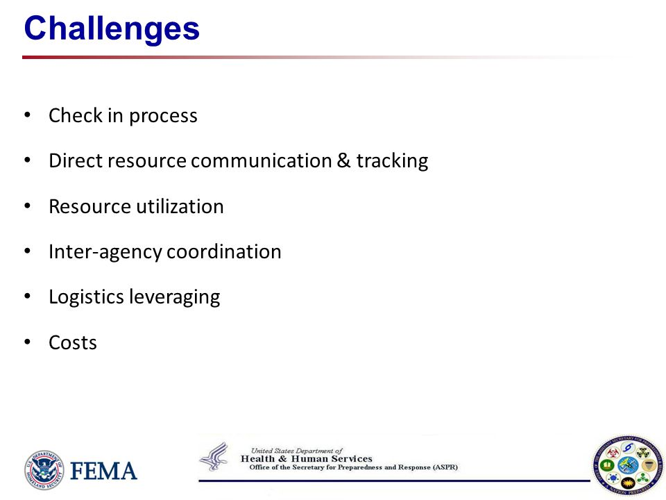 Challenges Check in process Direct resource communication & tracking