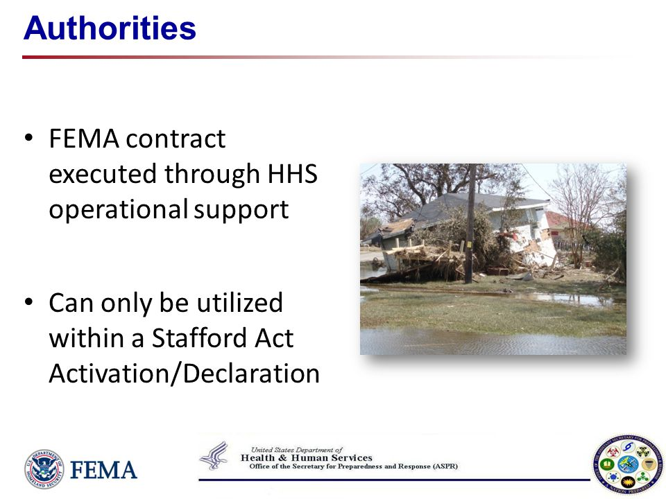 Authorities FEMA contract executed through HHS operational support
