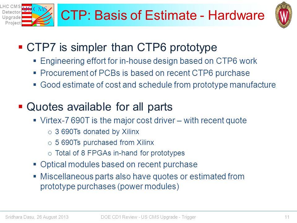 CTP: Basis of Estimate - Hardware