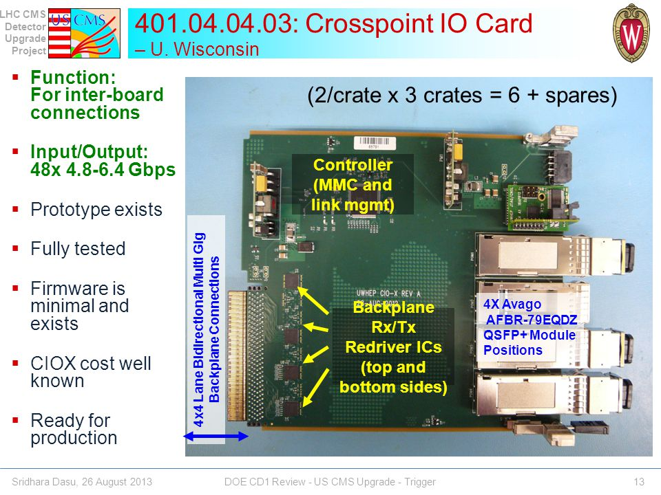 401.04.04.03: Crosspoint IO Card – U. Wisconsin