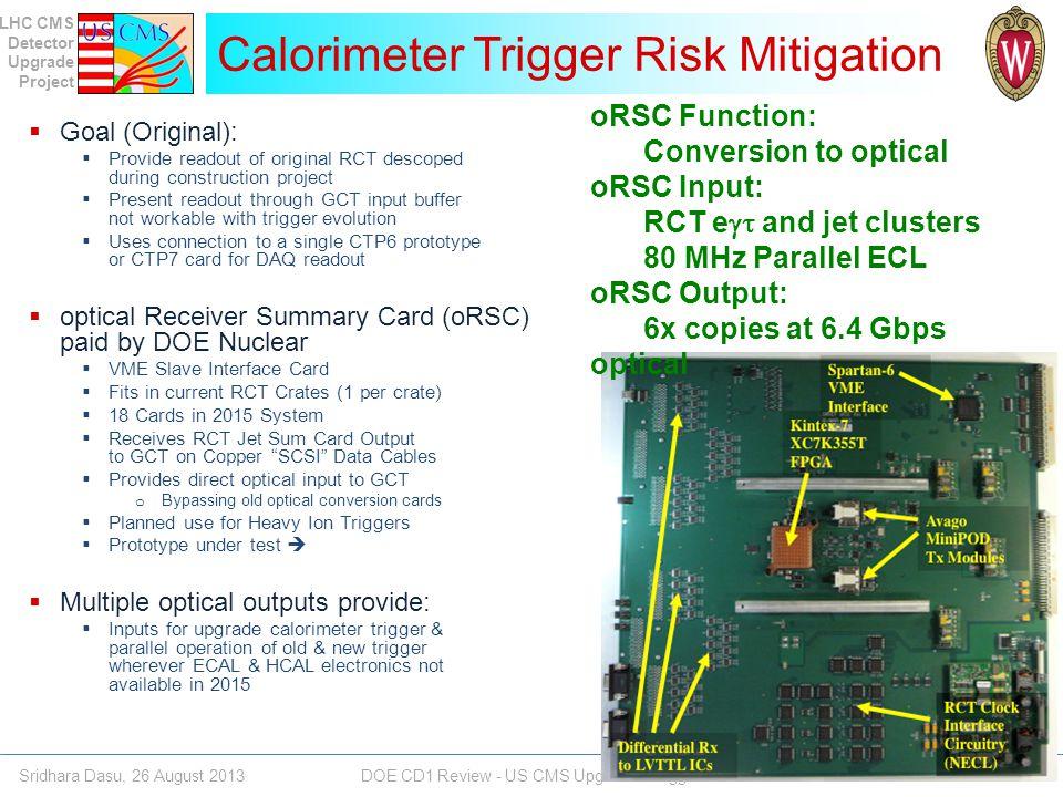 Calorimeter Trigger Risk Mitigation